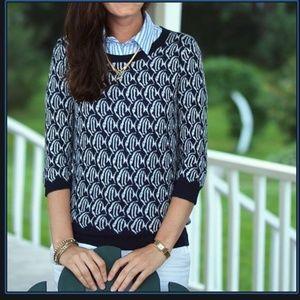 J. Crew Merino Tippi School of Fish Sweater navy blue white animal print wool